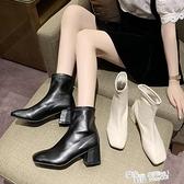 瘦瘦靴女網紅增高粗跟中跟襪靴2021年新款秋季百搭潮ins米色短靴 夏季新品