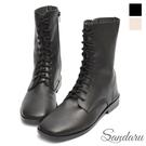 馬丁靴 柔軟皮革側拉鍊中筒靴-黑