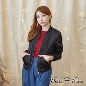 【Tiara Tiara】激安 縮口俐落拉鍊夾克(黑)