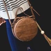 春新款復古小圓包韓版時尚流蘇側背包休閒粗線斜背包定型手提小包歐歐流行館