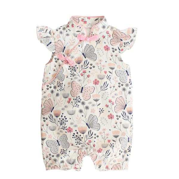 Augelute Baby童衣 中國復古風包屁連身衣 小飛袖女寶寶旗袍風連身衣 10024