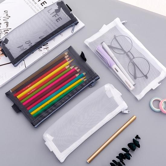 鉛筆盒 化妝包 收納袋 資料袋 小 文具袋 拉鍊袋 網紗袋 筆袋 文件袋 透視網格筆袋【G023】慢思行