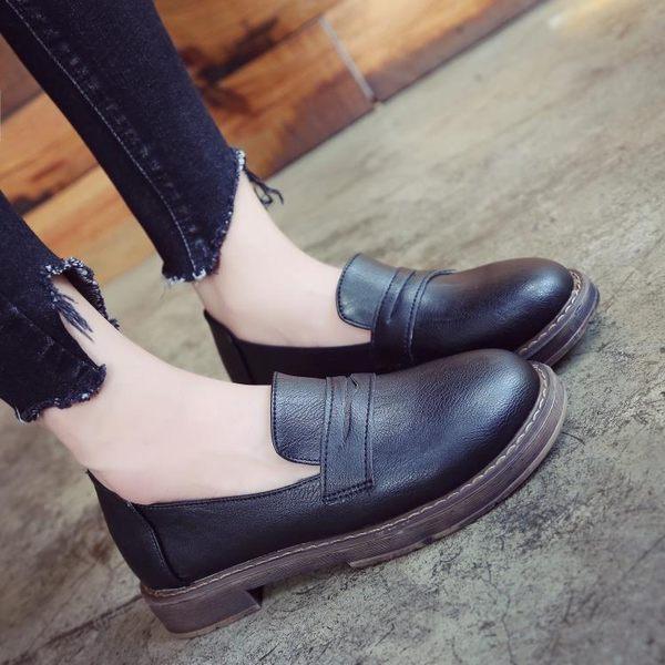 牛津鞋 日系一腳蹬制服鞋學院風cos黑棕色樂福JK單鞋平跟圓頭表演小皮鞋 芭蕾朵朵
