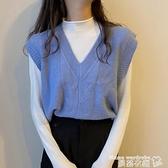 毛衣背心 秋季馬夾日系疊穿背心馬甲女秋款寬鬆坎肩外穿針織衫藍色短款上衣 交換禮物 曼慕