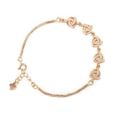 手鍊 玫瑰金鑲鑽純銀-華麗氣質生日情人節禮物女手環2色73dl72【時尚巴黎】