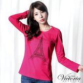 Victoria 鐵塔貼鑽基本長袖T-女-桃紅