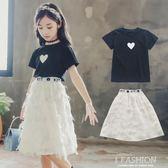 女童夏裝套裝2018新款韓版時尚大兒童夏季洋氣時髦兩件套童裝潮衣-Ifashion