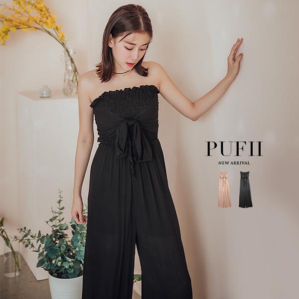 限量現貨◆PUFII-連身褲 胸鬆緊綁帶連身寬褲-0418 現+預 春【CP16494】
