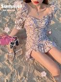 雪紡洋裝 碎花洋裝夏2021年新款紫色法式荷葉邊甜美雪紡初戀短裙