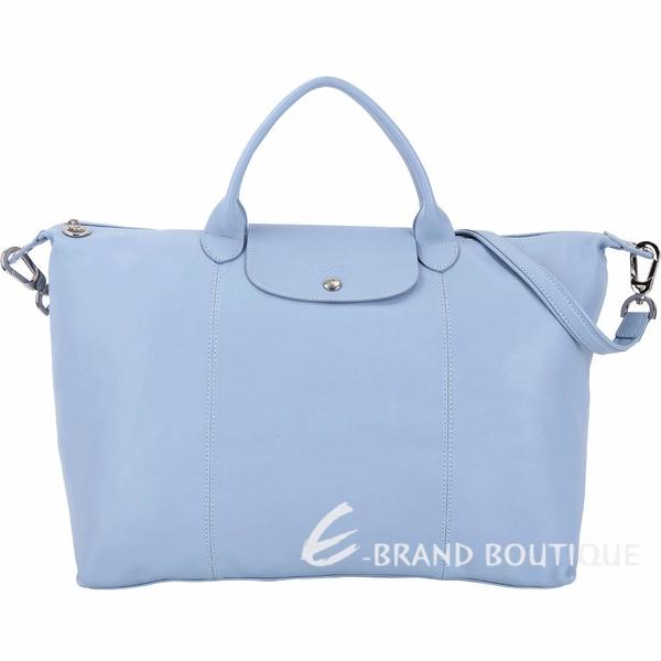 LONGCHAMP Le pliage Cuir 大型短提把羊皮摺疊手提肩背包(水藍色) 1410156-27