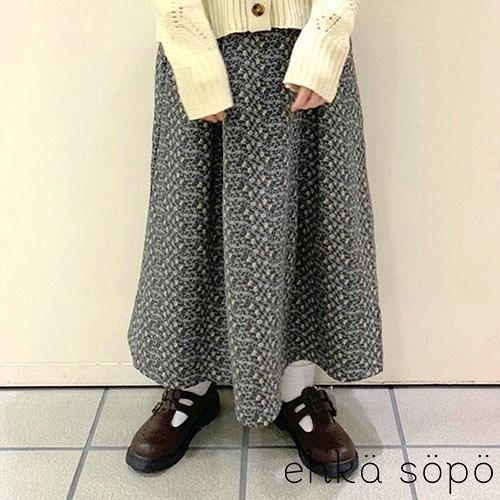 「Autumn」滿版花朵打印ALINE喇叭長裙 (提醒 SM2僅單一尺寸) - Sm2