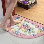 玫瑰剪花半圓吸水地墊 門墊 廚房臥室衛生間門口腳墊浴室防滑墊子   LannaS