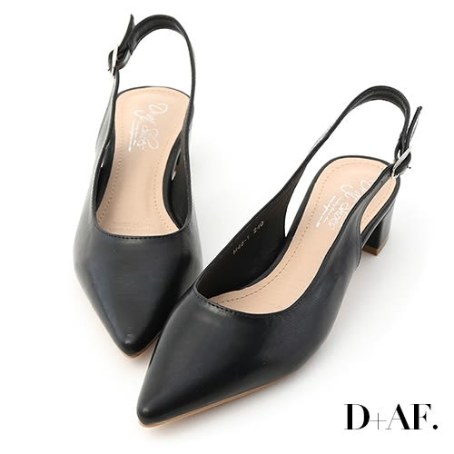 尖頭鞋 D+AF 甜彩春氛.素面尖頭後空中跟鞋*黑