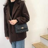 特賣小方包韓國氣質chic鏈條小方包側背斜背包ins時尚簡約菱格紋包包女韓流時裳
