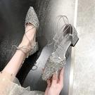 包頭涼鞋女 2021夏季ins潮新款仙女風中跟百搭粗跟綁帶配裙子女鞋 快速出貨