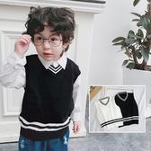 黑白大V學院風針織毛衣 背心 針織 外搭 橘魔法 現貨 兒童 童裝 男童 女童 中性款 針織毛衣