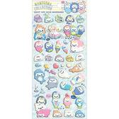 〔小禮堂〕San-X 小海豹 造型泡棉貼紙組《藍綠.多角色.貝殼.海洋》裝飾小物 4974413-71049