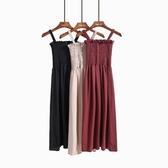 春季內搭連身裙新款氣質百搭木耳邊壓褶顯瘦抹胸吊帶中長款雪紡裙