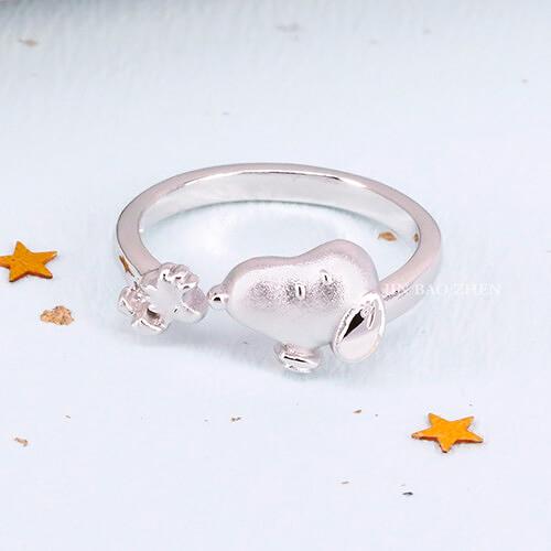 史努比SNOOPY-好朋友史努比-銀飾戒指