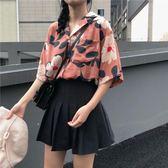 夏裝2018新款韓版寬松社會女上衣百搭港風復古chic碎花短袖襯衫女雪紡「輕時光」