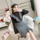 VK精品服飾 韓系復古格子吊帶搭配圓領T恤套裝長袖裙裝