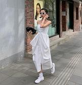抹胸洋裝 2021春夏法式設計感綁帶露肩氣質襯衫抹胸收腰白色連身裙女 韓國時尚週