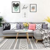 幾何黑白布藝沙發墊床頭抱枕靠枕套簡約現代北歐客廳家用靠墊 igo漾美眉韓衣