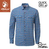 【Wildland 荒野 男 彈性抗UV格子長袖襯衫《深藍》】0A81202/POLO衫/運動衣/休閒衫