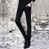牛仔褲 春季黑色牛仔褲男士韓版修身青少年小腳褲潮流男裝休閑男褲子長褲
