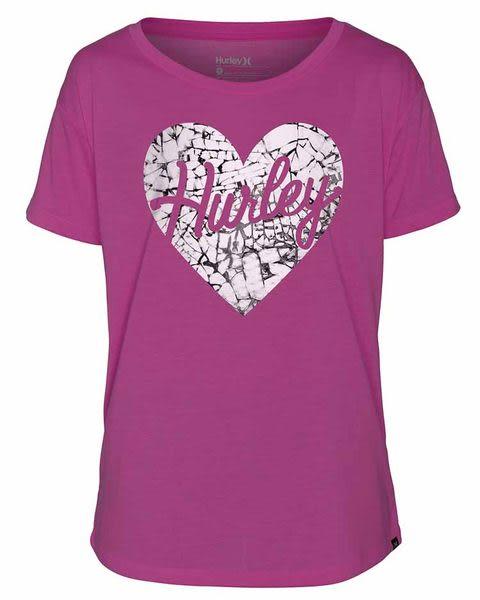 Hurley X Nike Dri-FIT 科技LOVE ME SHATTERED DRI-FIT TEE T恤 - 女(亮洋紅/紫)