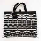FAUCHON 緹花刺繡手提包/購物袋(黑白)