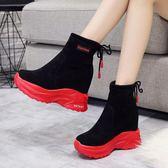 內增高秋季短靴女2019新款韓版潮厚底馬丁靴短筒網紅靴坡跟女靴子