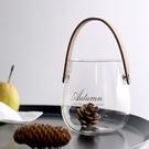 [拉拉百貨]ZAKKA 北歐風 玻璃瓶  皮製把手 花瓶 花器 水瓶 佈置 提把 把手 皮製