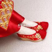 繡花鞋  中式婚鞋秀禾鞋高跟鞋新娘紅色布鞋女粗跟繡花鞋敬酒鞋流蘇古裝鞋 『歐韓流行館』