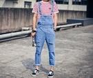 韓國 優質 刷破 牛仔 吊帶褲 水洗 藍色 長褲 破壞