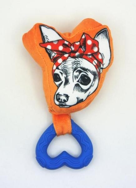 寵物玩具 棉絨可愛帶響笛大型犬用狗臉譜咬膠繩結玩具