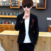 男士休閒西服男青年個性小西裝潮流韓版上衣秋冬季修身型加厚外套