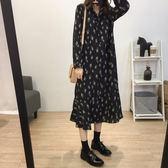 韓版氣質復古立領清新小碎花寬鬆荷葉邊雪紡洋裝女內搭打底裙子 時尚芭莎