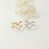 【NiNi Me 】韓系戒指氣質優雅水鑽蕾絲小花V 型雙層開口戒指戒指F0012