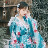 年末鉅惠 日本傳統櫻花和服睡衣女長袖女士長款和服表演出舞臺服裝