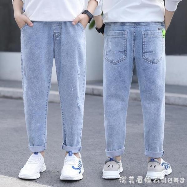 男童牛仔褲童裝潮款2020新款兒童中大童冬裝加絨男孩帥氣春秋褲子 美眉新品