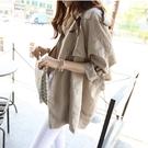 免運春裝新款韓版中長款七分袖小個子寬松學生春秋薄款風衣外套女