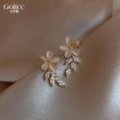 耳環 高級感貓眼花瓣耳釘新款潮耳飾網紅氣質女925純銀銀針耳墜 - 歐美韓熱銷