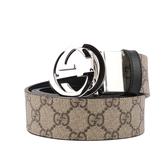 【GUCCI】雙G 銀logo可旋轉兩用板扣皮帶4cm寬(咖啡色) 473030 KGDHN 9769