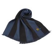 Vivienne Westwood星球logo撞色條紋純羊毛圍巾(藍黑色)910542-3