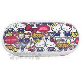 〔小禮堂〕Hello Kitty 皮質掀蓋拉鍊筆袋《白Mimmy 》化妝包收納包4713791 96989