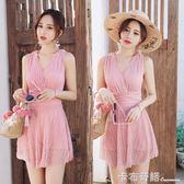 游泳衣女連身新款網紅款超仙泡溫泉冬天海邊度假時尚顯瘦性感  卡布奇諾