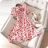 洋裝-桑蠶絲法式復古甜美愛心印花連身裙73sz46【時尚巴黎】