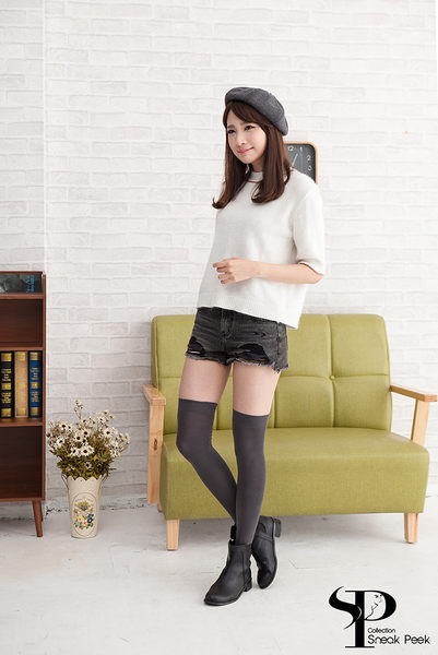 日系高質感膝上襪 (深灰色)