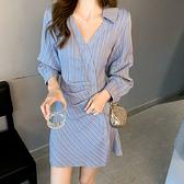 長袖洋裝 襯衫式條紋連身裙-媚儷香檳-【FD0143】